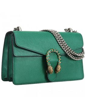 2018 Gucci Latest Dionysus Diamonds Buckle Double Silver Straps Ladies Green Leather Shoulder Bag Replica