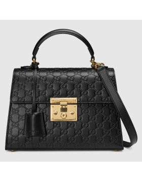 Spring Classic Style Gucci Padlock Gold-toned Hardware Black Signature Leather Ladies Small Tote Bag 453188 CWC1G 1000