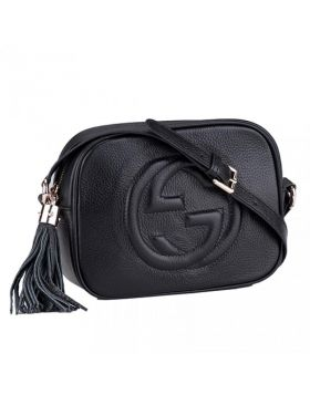Classic Gucci Soho Disco GG Logo Tassel Trimming Ladies Black Leather Shoulder Bag Online 308364 A7M0G 1000