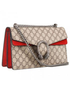 Top Sale Gucci Dionysus Red Suede Trim Small GG Supreme Ladies Shoulder Bag With Silver Hardware