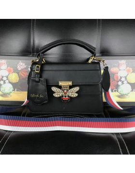 Hot Selling Gucci Queen Margaret Bee & Web Details Ladies Black Leather Top Handle Bag Price HK ‎476541 DVUXT 8062