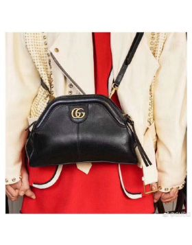 Fall/Spring Gucci RE(BELLE) Double G Trimming Ladies Black Small Grained Leather Shoulder Bag Sale ‎524620 0PL0T 1000