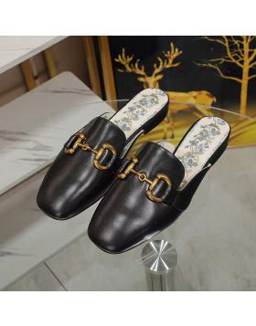2021 Hot Selling Gucci Blue Porcelain Element Yellow Gold Horsebit High End Genuine Leather Slippers For Ladies