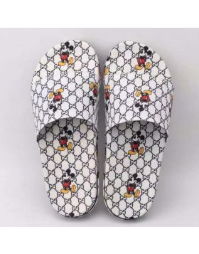 2021 Summer Popular Gucci GG Supreme Printing Disney Mickey Motif  White Fabric Slide Sandals For Men Replica