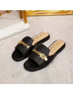 Gucci Best Site Sylvie Female Yellow Gold Chain Female Flat High-Quality Calfskin Leather Slide Sandals Price Malaysia