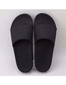 Men's Best Price Gucci Classic GG Grid Black Rubber Double G Detail White Fabric Slide Sandals For Sale Online