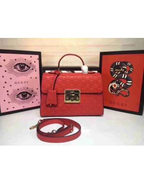 Low Price Gucci Padlock Red Signature Leather Single Top Handle Female Shoulder Bag In London Replica