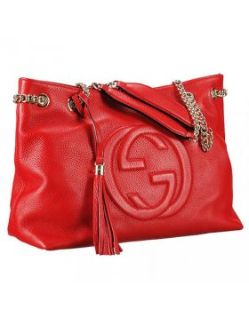 High Quality Gucci Soho Tassel Trim Double G Logo Female Red Leather Double Chain Handbag