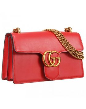 Hot Selling Gucci GG Marmont Chain Strap Brass Buckle Red Leather Shoulder Bag For Ladies Medium