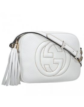 Spring / Summer Womens Gucci Soho Disco Double G Detail Tassel Charm White Cowhide Leather Handbag