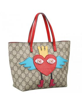 Gucci GG Supreme Heart Print Red Thin Handle Tote Shopping Bag Fashion Style USA Price
