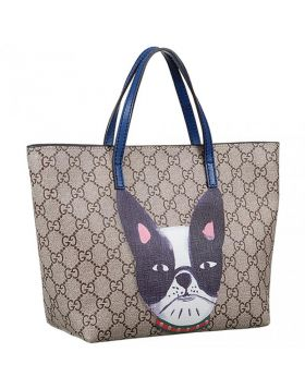 Gucci GG Children's Supreme Blue Leather Handles Dog Pattern Small Canvas Tote Bag For Discount