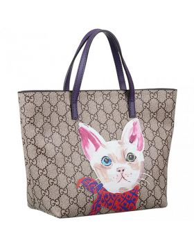 Cheapest Gucci Children's Supreme Cat Signature Flat Purple Leather Top Handle GG Canvas Handbag