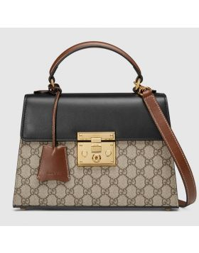 Most Fashion Women's Gucci Padlock Small GG Supreme Black Leather Flap Handbag Price USA 453188 KLQJG 9785