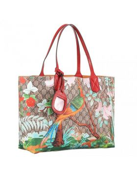 Gucci Fashion GG Supreme Red Leather Top Handles Bird & Flower Print Womens Canvas Tote Medium 412096 K0L2N 8691
