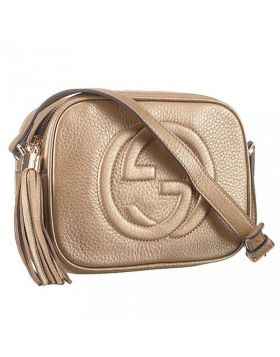 Gucci Soho Disco Double G Logo Design Tassel Zipper Puller Ladies Retro Gold Leather Handbag