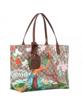 Vogue Gucci Tian GG Supreme Flower & Bird Motif Brown Leather Top Handle Ladies Medium Canvas Tote Bag