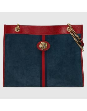 Vogue Gucci Dark Blue Suede Leather Tote Bags With Small Wallet Chain And Leather Handles Online Sale 537219 0X7AX 4065