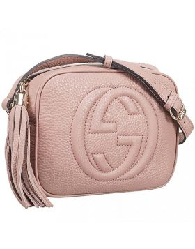 Gucci Soho Disco Cute Light Pink Interlocking GG Logo Fashion Fake Shoulder Bag For Girls