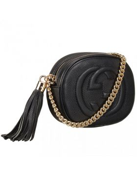 Good Price Gucci Soho GG Logo Polished Brass Chain Strap Black Leather Crossbody Bag Mini
