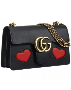 Gucci GG Marmont Brass Chain Strap Female Black Leather Flap Shoulder Bag With Red Heart 431777 CDZIT 8482