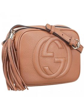 Cheapest Womens Chic Gucci Soho Disco Zipper Top Tassel Trimming Tan Leather Shoulder Bag 308364 A7M0G 2754