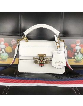 2018 Most Fashion Gucci Queen Margaret Pearls & Crystals Embossed Bee White Leather Ladies Small Handbag 476541 DVUXT 9193