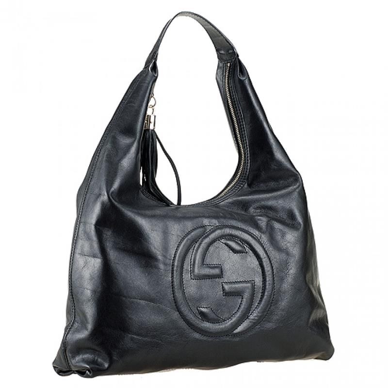 Hot Selling Gucci Soho Tassel Trimming Zipper Large GG Logo Female Black  Leather Shoulder Bag Replica b973c71054ab5