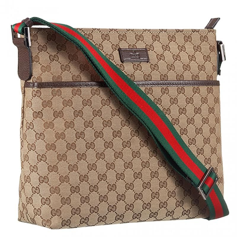 Gucci Web Band Brown Leather T Red Green Detail Canvas Messenger Bag For Mens Womens