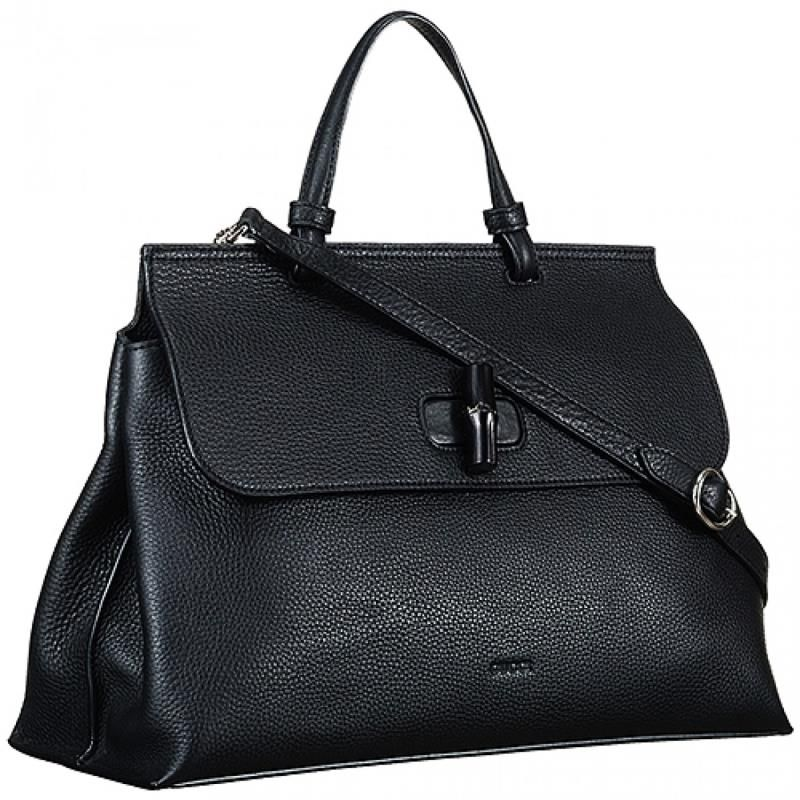 63dbd6aabe7fb7 Gucci Bamboo Daily Black Large Bag Turnlock Single Handle Cool Style Price  In Thailand Women