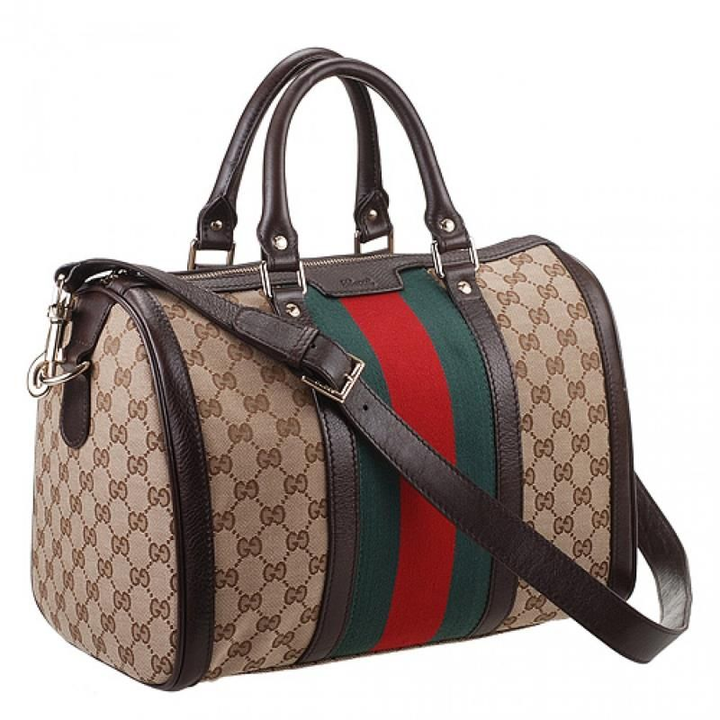 f7104336922 Gucci Vintage Web Original GG Beige Canvas Medium Boston Bag Ebony Leather  Trim On Sale 247205 FWCZG 9791