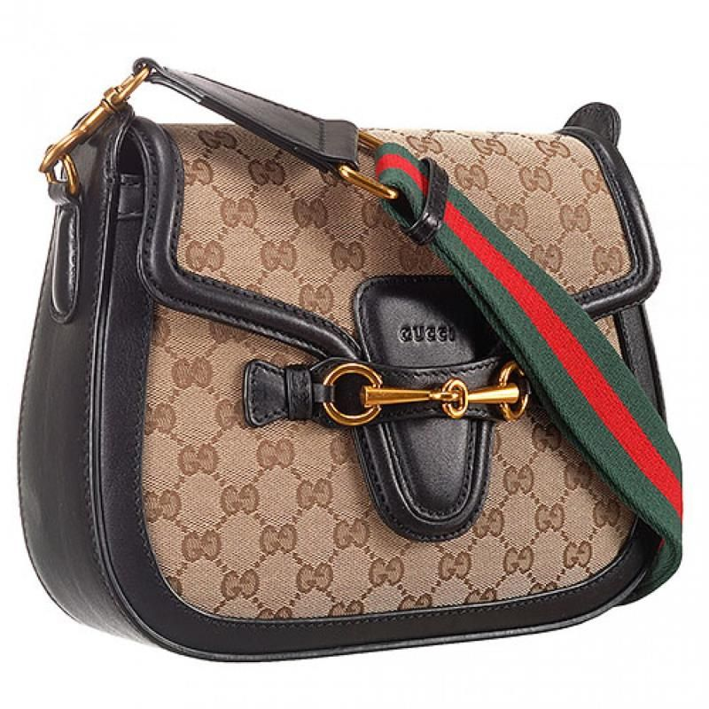 4260ac00c6dec1 Winter Latest Gucci Lady Web GG Red-Green Strap Ladies Monogram Canvas Flap  Bag With Black Leather