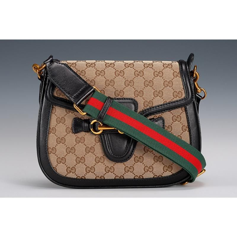 53507413c65 Home  Winter Latest Gucci Lady Web GG Red-Green Strap Ladies Monogram  Canvas Flap Bag With Black Leather. Skip to the end of the images gallery