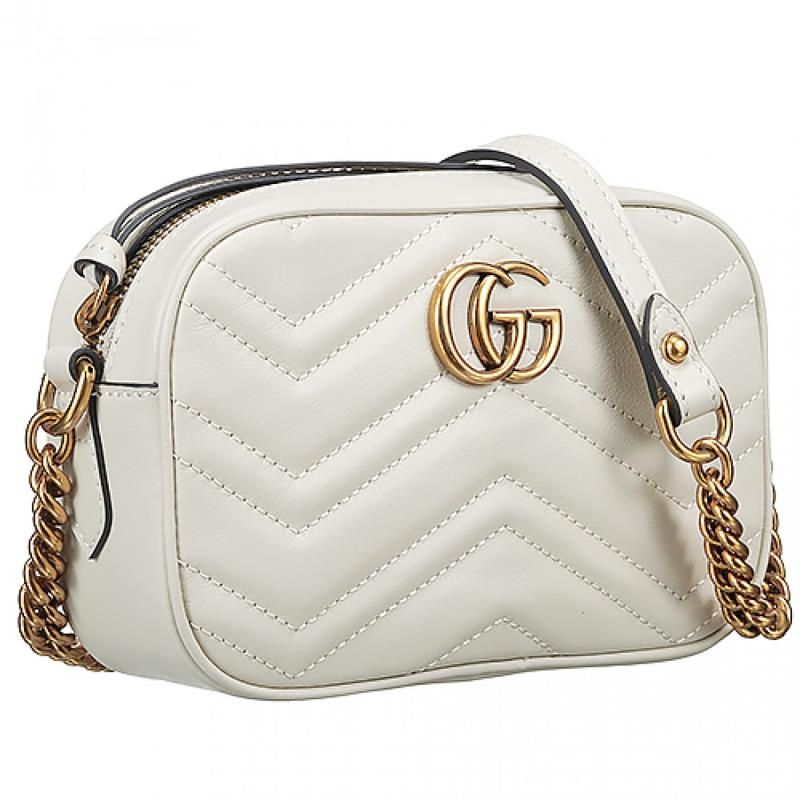 2018 Latest Gucci Marmont Matelasse Brass GG Logo Top Zipper Ladies White  Leather Quilted Handbag Replica 448065 DTD1T 9022 4b5aad07c